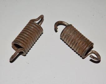 Metal tube springs,industrial hardware,set of 2,rusty springs,rusty hardware,metal springs,