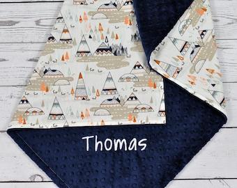 Personalized Minky baby blanket - Baby minky blanket - Teepee minky blanket - Teepee Nursery - Baby shower gift - Tribal Blanket nursery