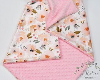 Minky Baby Blanket Girl-Personalized Baby Blanket-Monogram Blanket-Floral Minky Baby Blanket-Baby Girl Blanket-Coral Gold Minky blanket Girl