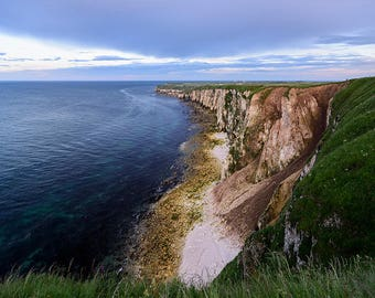 Bempton Cliffs Photography Print, Canvas Wall Art Flamborough Head, Home Decor, Blue And Green, Image, Poster, Photo, Landscape, Sea, Clouds