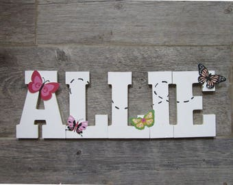 Personalized handpainted butterfly wall letters for girls, girly hanging name wall letters, girls room decorations, custom kids room letters