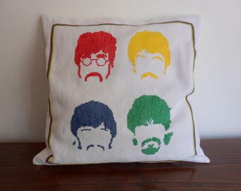 The Beatles cross stitch Pillow case | Pop art Pillow | The Beatles home decor | The Beatles throw pillow cover |Hand embroidery