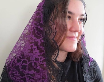 Purple and Black Lace Triangle Chapel Veil for Lent | Mantilla | Traditional Veil | Catholic Veil | Veil for Mass | The Veiled Woman |