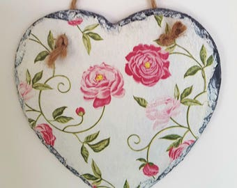 Wall Hanging, Slate Heart, Pink Flowers, Mothers Day Present, Birthday Gift, Hand Decorated, Shabby Chic Design, Peony, Housewarming Gift