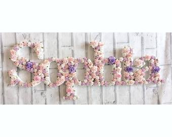 Custom made floral full names - LARGE // nursery decor// room decor