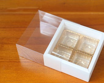 5 White chocolate boxes, chocolate boxes, clear chocolate box, insert chocolate box, candy box, gift box, chocolate gift box, small box