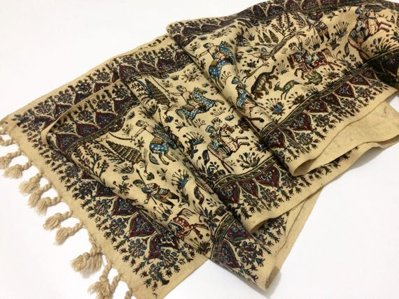 "Table runner 94"" long , traditional handmade tapestry , hand block printed calico with natural dyes"