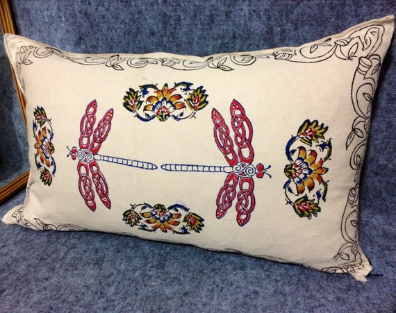 dragonfly pillow ,decorative pillow , handmade pillowcase, hand printed calico,cottage style,vintage style,pillow case dresses,xmas for her