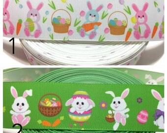 Easter Bunny Ribbon, Easter Bunny Grosgrain Ribbon, Easter Ribbon, White Bunny Ribbon, Easter Rabbit Ribbon, Spring Grosgrain Ribbon