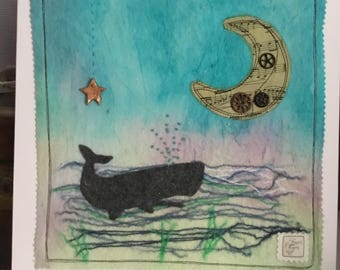 Mixed media whale picture