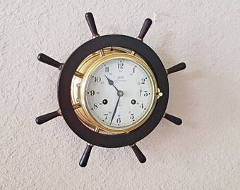 Professionally Restored Antique Schatz ROYAL MARINER 8-day Chiming Ship's Clock  – Solid Brass - With Warranty - Runs & Chimes Flawlessly
