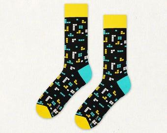 Retro Game mens socks | womens socks | funny socks | cool socks | yellow socks | gift for men | gift for her | patterned socks | crazy socks