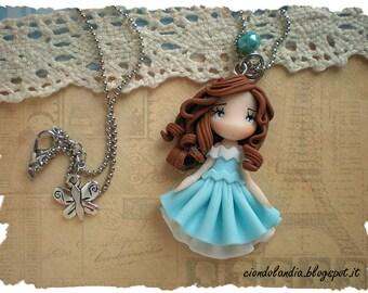 Princess doll necklace (Polymer clay light blue dress)