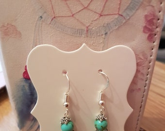 Handmade Turquoise semi precious gemstone earrings