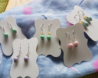 pretty pastel pearlescent and pearl earrings, soft pink,lilac purple,pastel green,pastel turquoise