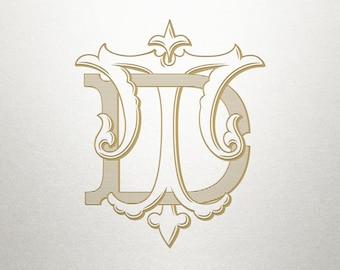 Digital Wedding Monogram - DT TD - Wedding Monogram - Vintage
