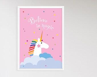 Unicorn - poster, minimalist, poster, pink, contemporary Kinderzimmerdeko, graphic design