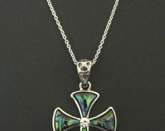 Abalone Shell Cross Necklace