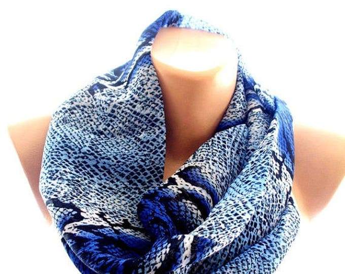 Chiffon blue scarf, phyton print scarf, scarves for women, soft scarf, cozy scarf, trendy scarf