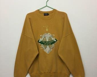 Vintage Trussardi Pullover Sweatshirt/90s Trussardi Jeans Embroidered Sweatshirt/Mustard/Size 46