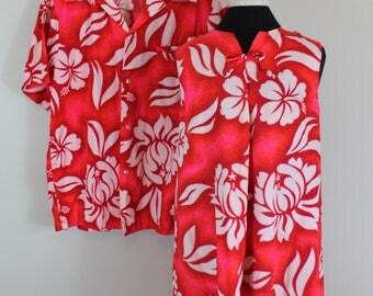 Vintage 60s Matching His and Hers Hawaiian Set - Hawaiian Dress and Men's Shirt - Barkcloth Shirt and Dress -  Honeymoon Set