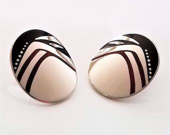 Laurel Burch Silver Geometric Oval Post Earrings, Red, Black Enamel