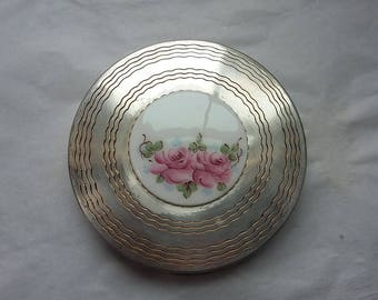 Vintage Zell Silverplated Powder Compact, Hand-painted Center Porcelain, Roses