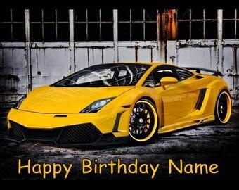 Yellow Lamborghini Lambo Car Edible Image Cake Topper Personalized Birthday  1/4 Sheet