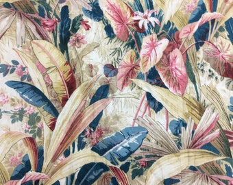 Antique Rare Beautiful Tropical Leaf 19th C. French Exotic Valance (2043)