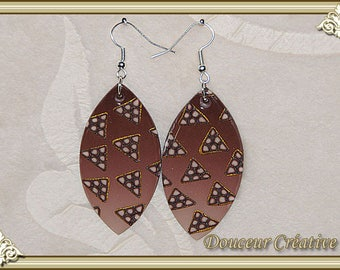 Earrings brown beige Golden 104035