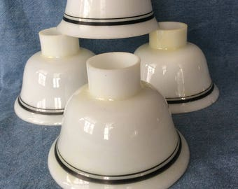 Vintage industrial factory milk glass green band ceiling fixture torchiere lighting shades