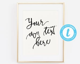 personalised word art template - quote art print etsy