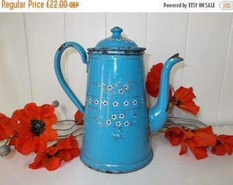 SALE 10% OFF Vintage French Coffee Pot, Enamel Blue with Flowers.  Kitchen Tidy, Decoration.  (6257s)