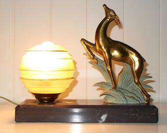 Art Deco Prancing Deer Mood Lamp. Vintage French Marble based Light. Spelter Deer Lamp on Marble Base. Tri tone Glass Shade.