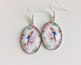 These earrings Parrot tropical cabochon
