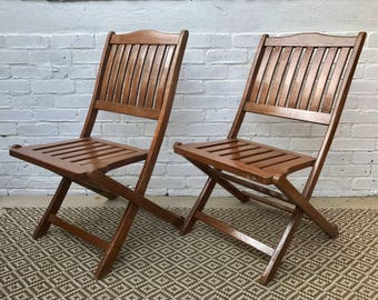 Pair of Folding Wooden Garden Chairs #205 (2 pairs available)
