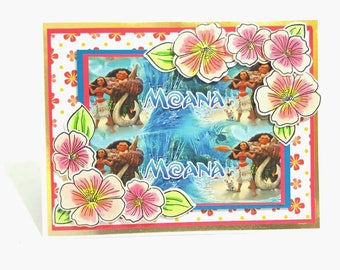 Moana Birthday Card, Handmade Greeting Card, Hawaiian Maui