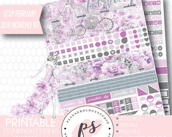 Cinderella February 2018 Monthly View Kit Printable Planner Stickers (for Erin Condren ECLP) | JPG/PDF/Silhouette Cut File