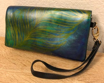 Hand-painted Peacock Feather Purse