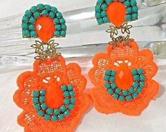 Orange Neon Earrings, Statement Jewelry, Wholesale Accessories, Trendy Earrings, Funky Jewelry, Lace Earrings, Tatted, Lace Jewelry,Earrings