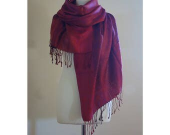 Red Silk Shawl with Paisley Pattern