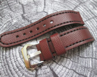 leather watch strap/ brown wrist watch band/ 20mm 22mm 24mm