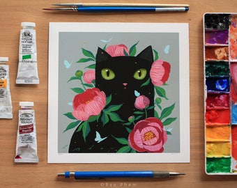 Peony Cat - Limited Edition Print