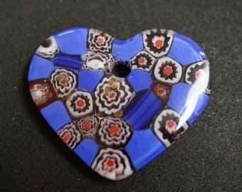PENDANT glass millefiori heart shape