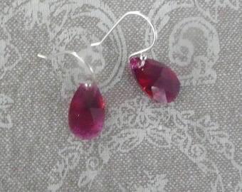 """Ruby Crystal teardrop"" Silver hook earrings"
