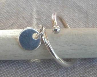 "Flexible silver ring ""Medal"""