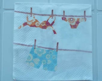 set of 2 napkins papierserviette swimsuits and shorty