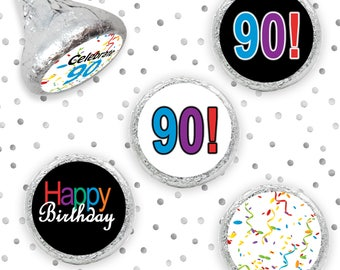 Multicolored 90th Party Favors, 90th Milestone, Happy 90th Birthday Hershey Kisses Favor, 90 Birthday Party, Hershey Stickers, Set of 324