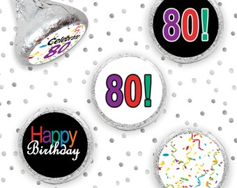 Multicolored Happy 80th Birthday Party Favor Sticker, Decorations for 80 Birthday, Hershey Kiss Candy Labels, Envelope Seals - 324 Count