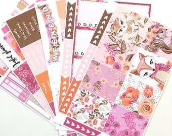 Spring planner stickers weekly kit Woodland planner stickers for Erin Condren ECLP and MAMBI Happy Planner